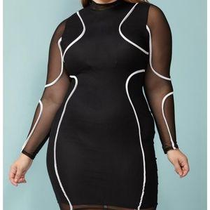Mesh Midi Bodycon Dress